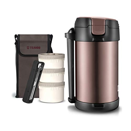 Boîte à lunch thermique portative à 3 niveaux, boîtes à bento en acier inoxydable 304, gardez au chaud pendant 12 heures, avec sacs à lunch réutilisables et ensembles de cuillère