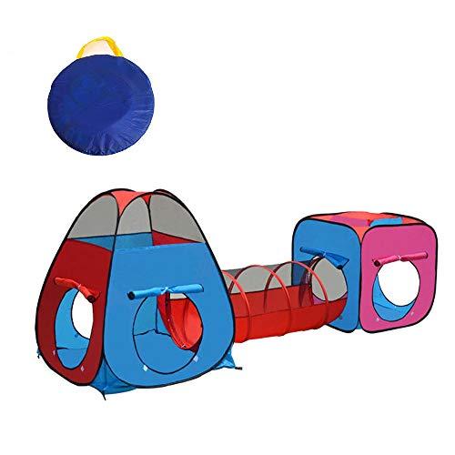 ADATEN Tenda da Gioco per Bambini Tunnel Vasca da Biliardo 3 Pezzi Triangolo Quadrato Cubby Combo Divertente Pop-up Pieghevole Portatile casetta da Gioco Castello all'aperto Coperto Ragazzo Ragazza,B
