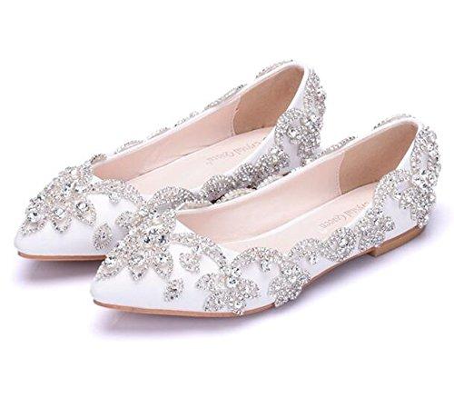 Msfs scarpe da donna mocassini piatti nozze ballerina strass sposa festa da 35 a 42,eu41