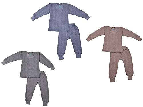 kuchipoo Unisex Regular Fit Thermal Top and Pyjama Set (KUC-THR-106_3-4 Years_Blue , Brown & Grey)