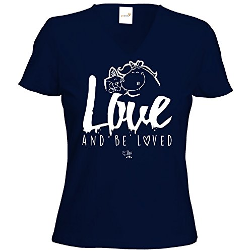 getshirts - Pummeleinhorn - T-Shirt Damen V-Neck - love and be loved Dunkelblau