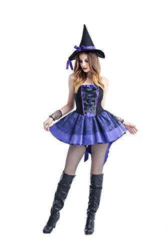 Frauen Magic Mistress Lila Cosplay Kostüm Swallowtail Hexe Kleid Halloween Kostüm mit Hut (Schwalbenschwanz Kostüme Frauen)