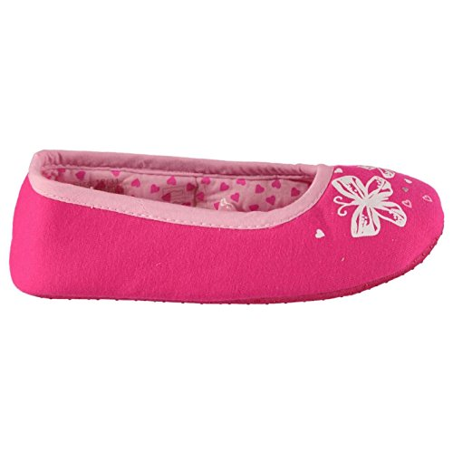 Crafted Kinder Maedchen Schmetterling Hausschuhe Ballerina Pantoffeln Print Pink