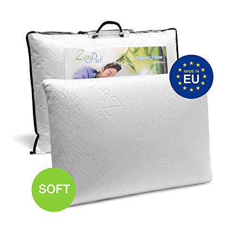 ZenPur Schlafkissen Memory-Schaum 60 x 40 cm Weich - 100% Viskoelastisch - mit Bio Bambus Bezug - Orthopädisches Kissen - Öko-Tex Standard 100 - Hypoallergen - Kissen Kopfkissen Memory-Foam -