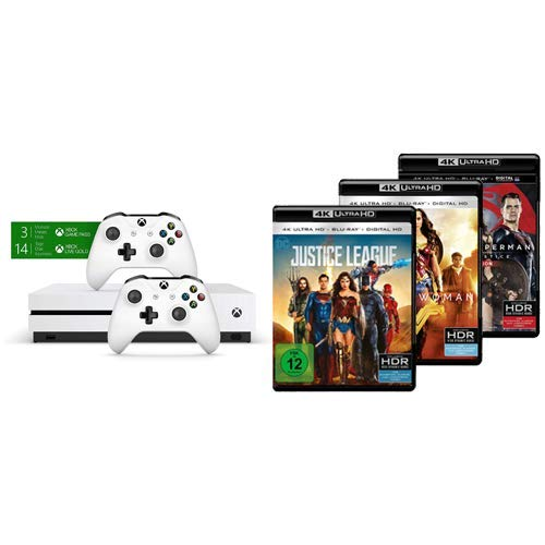 Xbox One S 1TB Konsole - Bundle inkl. 2. Controller + 3 Monate Gamepass + 14 Tage Live Gold und Justice League, Batman v Superman: Dawn of Justice und Wonder Woman (4K Ultra HD + 2D Blu-ray)