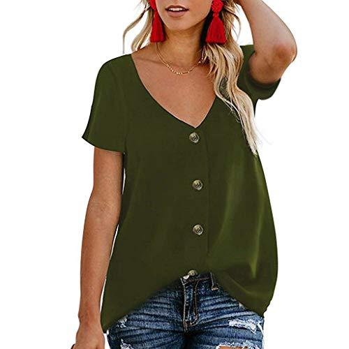 Makefortune  2019 New!! Womens Ladies V Neck Tops Short Sleeve Button Down Loose Blouse T Shirt Solid Color Summer Casual Tunic Top - Button-down V-neck T-shirt
