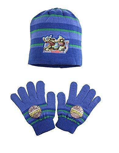 TMNT Jungen Offiziell Teenage Mutant Ninja Turtles Gestrickte Beanie-Mütze & Handschuhe Set Size 4+ Jahre - Blau/Grün, One Size (4+ Years)
