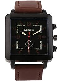 Genex Quartz Analog Black Dial Leather Strap Mens Watch-GNX-9002