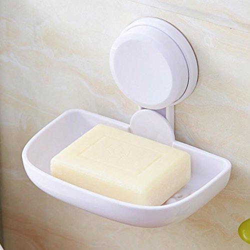 Xuan - Worth Having Titulaire de Savon de Salle de Bains Simple en Plastique Blanc de Tasse d'aspiration