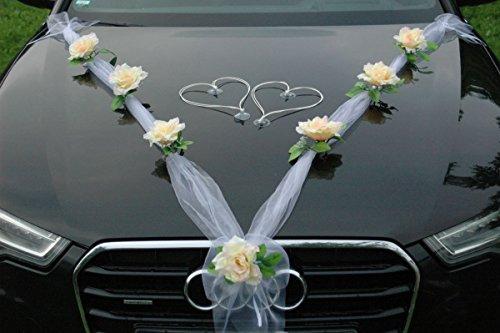 Autoschmuck ORGANZA M + HERZEN Auto Schmuck Braut Paar Rose Deko Dekoration Hochzeit Car Auto Wedding Deko Ratan (Lemon/Weiß/Weiß)