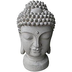 Gran Cabeza de Buda 48x 28x 26cm–Resistente a la intemperie y imitación piedra original