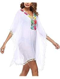 Bikini Cover Up Mujer Elegantes Primavera Cortos Anchas Boho Mangas De  Murciélago Fashion Vestido Playa Cuello 6009223e490c