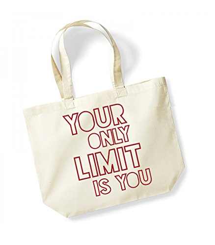 Your Only Limit Is You - Large Canvas Fun Slogan Tote Bag Natural/Red