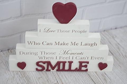 Smile Wood Block I Love Die Menschen, können Make Me