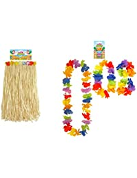 Adults Long Hawaiian Beach Hula Flower Skirt & 4 Piece Lei Fancy Dress Accessory
