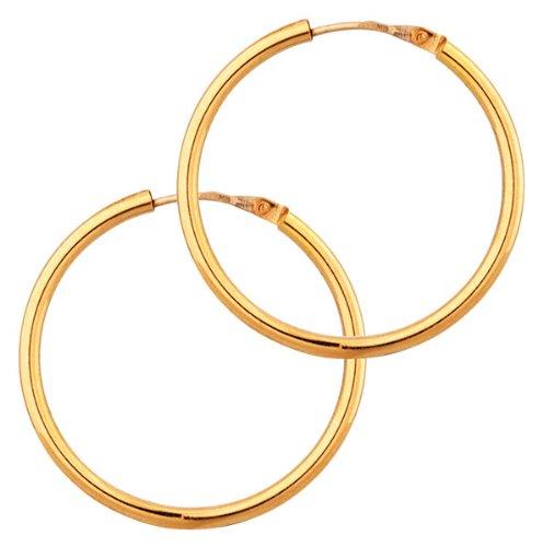 Orleo - REF5549BB : Créoles Femme Or 18K jaune - Fil Rond 24 mm