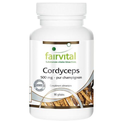 Cordyceps 500 mg - Pur Champignon en poudre (Cordyceps Sinensis, champignon chenille) - 90 gélules végétariennes