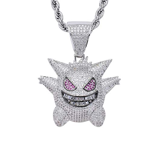 kemon Ghost Pendant 3A Zircon Hip Hop Fashion Pendant,Silver ()