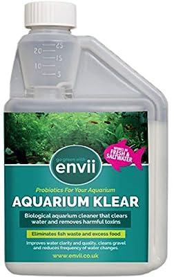 Envii Aquarium Klear – Bakterielles Algenmittel, reinigt Aquariumwasser und Kies, entfernt Grünalgen – 500ml