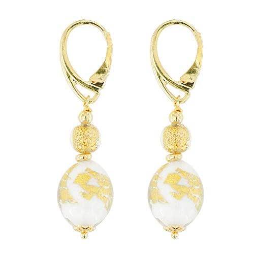 Venetiaurum - Orecchini per Donna Con Perle In Vetro Di Murano E Argento 925 Placcato oro - Gioiello Made In Italy Certificato