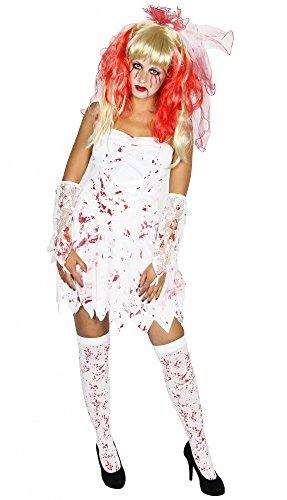 Foxxeo blutiges Zombie Braut Kostüm Halloween für Teens und Damen Geisterbraut weiß Damenkostüm Mädchen Halloween Horror Größe L