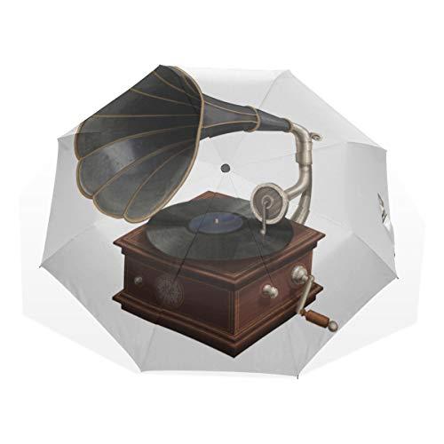 Reiseregenschirm Abdeckung Türkis Grammophon Plattenspieler 3-Fach Kunst Regenschirme (Außendruck) Kid Compact Regenschirm Kinderreiseregenschirm Regenschirme Compact