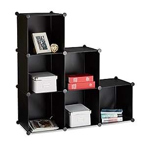 relaxdays stufenregal 6 f cher steckregal als kleiderschrank oder raumteiler offenes. Black Bedroom Furniture Sets. Home Design Ideas