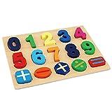 The Cuddle - Zahlen Holzpuzzle zum Lernen (17 Teile) (Zahlen von 0 - 9 und Rechenzeichen)