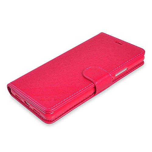 UKDANDANWEI iphone 5s / SE Hülle, Bookstyle Case Schutz Cover Schutzhülle Schutztasche Aufsteller Innenfächer Leder für iphone 5s / SE Braun Rot