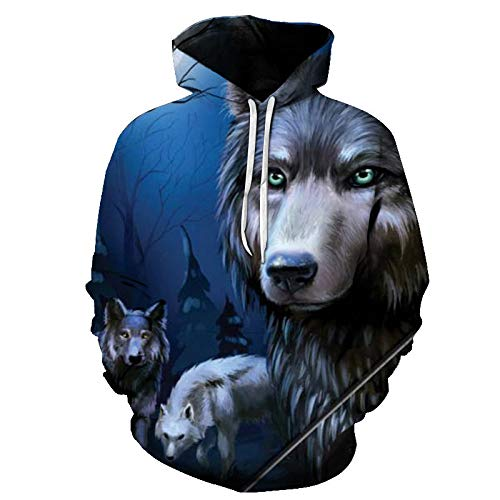 comechen Herren Kapuzenpullover Lebensecht 3D Grafik Hoodie mit Kängurutasche Pullover mit Kapuze Sweat HoodPullover Lone Wolf Mit Kapuze Lässig Y-5101 XL