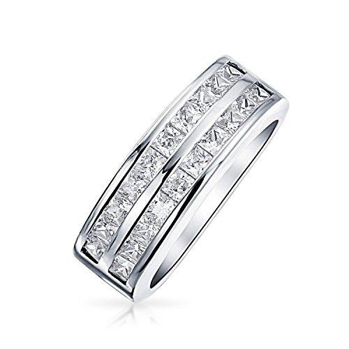Bling Jewelry Zwei Zeile Zirkonia Channel Set Princess Cut AAA CZ Jahrestag Ehering Ring Für Damen 925 Sterling Silber (Cz-ehering-sets Für Sie)
