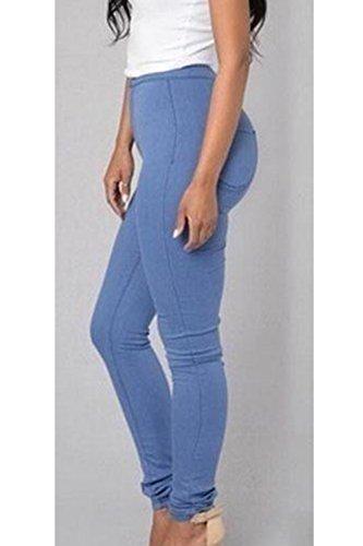 YACUN Les Femmes Taille Haute, La Cheville Pantalons Collants Pantalon Extensible Longueur blue