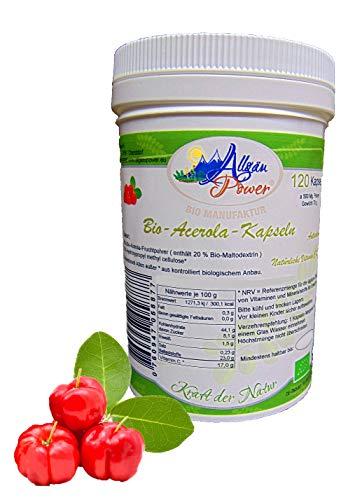 BIO Acerola Kapseln - 120 Stück a 600 mg. - 17{9a5541f00902efc996e400db2cba42ba310ac18342e4addba8efac8614e55715} Vitamin C Gehalt