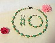"""Gioielli da donna: set di perle in ceramica con diamanti, verde e oro antico, gamma""""tenero pens"""