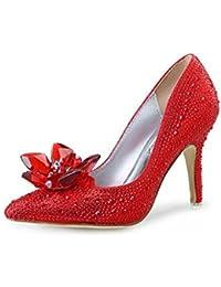 FZHLY Zapatos De Cenicienta De Cristal Zapatos De Boda Nupcial Zapatos De Aguja De Las Mujeres Acentuados 7cm,...