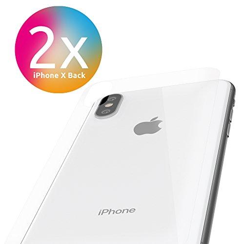 2 X Apple (Apple iPhone X Schutzfolie Rückseite [2 Stück] Panzerfolie volle Abdeckung [Ultra-Klar] einfache Aufbringung [iPhoneX Schutz Hinten Back] KEIN iPhone 10 Panzerglas, Hülle sondern Folie Rückseite)