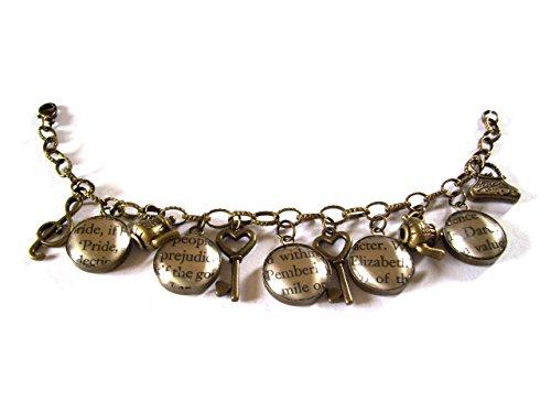 English gemas orgullo y prejuicio encanto pulsera de bronce antiguo en caja de piel sintética
