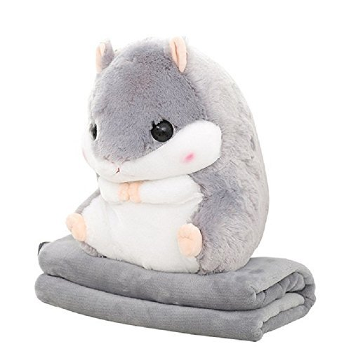 Kenmont 2 in 1 süß Hamster Kissen mit fleece Decke/ Rücken Stützkissen Schlafkissen weichem Plüschtiere Puppe Geschenke für Baby Kinder Erwachsene (Grey)