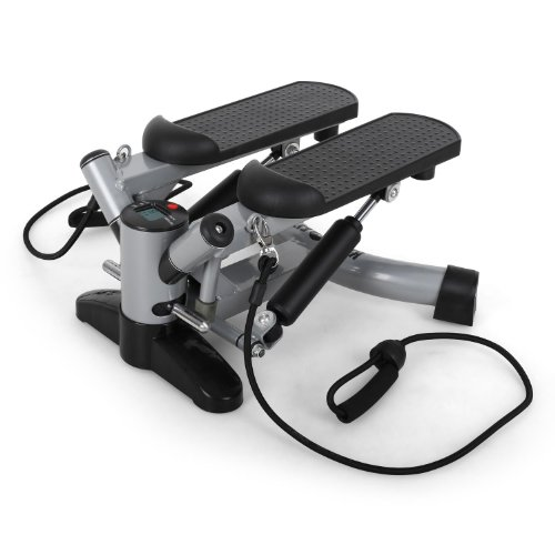 Klarfit Powersteps Aerobic Stepper Twist-Stepper mit Bändern (inkl. Trainingscomputer, 2 Expander-Bänder, Anzeige: Kalorien Schrittzahl) schwarz blau rosa oder silber