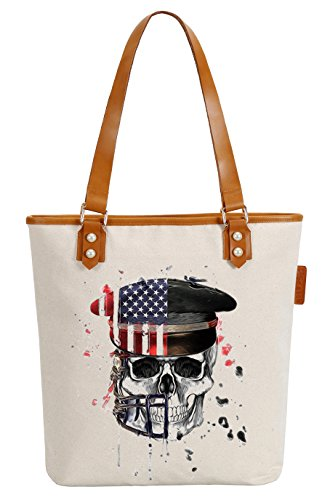 So'each Women's Us Service Cap Skull Canvas Tote Pearly Top Handle Shoulder Bag