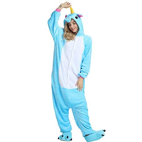 Pijama Unicornio Animal Onesie de Caliente Franela Suave Precioso Unisex Anime Cosplay Ropa Niños Adulto Altura de 90cm a 180cm (Altura Recomendada S(140cm - 150cm), Unicornio Azul)