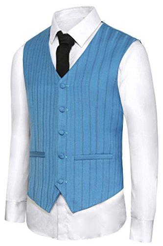 Hanayome - Gilet - Blouson - Col Chemise Classique - Sans Manche - 100 DEN - Homme Blue-D