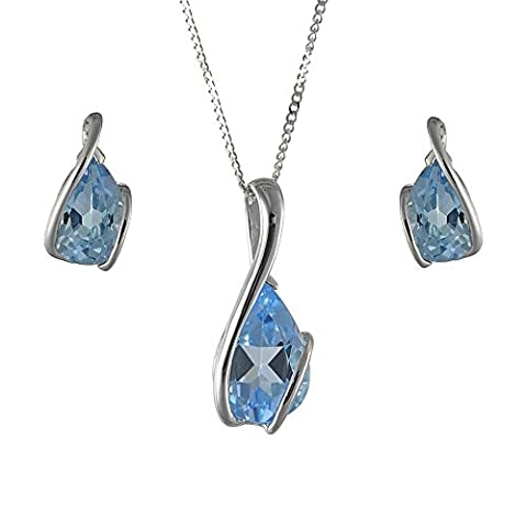 Ivy Gems 9ct White Gold Blue Topaz Wrap Design Earrings and Pendant Set on 46cm Trace Chain
