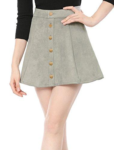 Allegra K Damen A Linie Mid Waist Veloursleder Minirock Rock Grau XS (EU - Holiday Party Kostüm