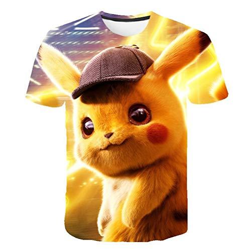 er Kurzarm Detektiv Pikachu 3D-Druck Atmungsaktiver Komfort,150 ()