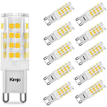 10 x Bombillas LED Lámpara G9, Kimjo 5W Blanco Cálido 2800K Equivalente a 40W Lampara Halogenos, 400LM CRI 80 AC220-240V 360°ángulo de haz 51 x 2835 SMD No- ...