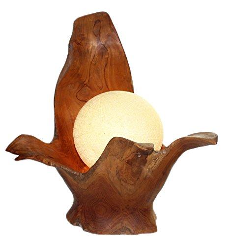 XXL Stehlampe Leuchte massiv aus Teak Wurzel Holz Lampe Leinen Schirm Grau NEW