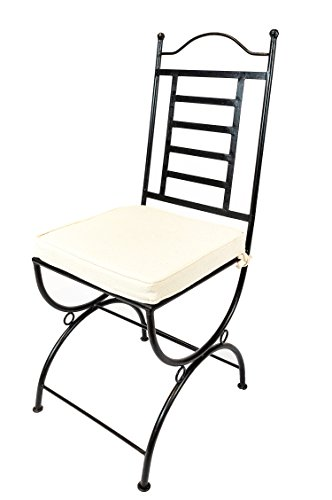 ORIGINAL Orientalischer Stuhl Gartenstuhl aus Metall Schwarz La Linea | Marokkanischer Balkonstuhl Inkl. Sitzkissen Stuhlkissen | Eisenstuhl als Bistrostuhl | Mediterrane Deko im Garten oder Balkon