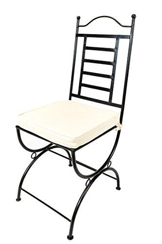 Original Orientalischer Stuhl Gartenstuhl aus Metall Schwarz La Linea | Marokkanischer Balkonstuhl...