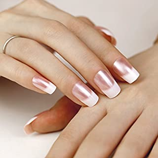 ArtPlus False Nails 24pcs x 4 (4-Pack) Natural Pink Pearl Elegant Touch French Manicure Fake Nails with Glue Full Cover Medium Length 4 Boxes in 1 Premium Pack Buy 3 Get 1 Free Nails Art